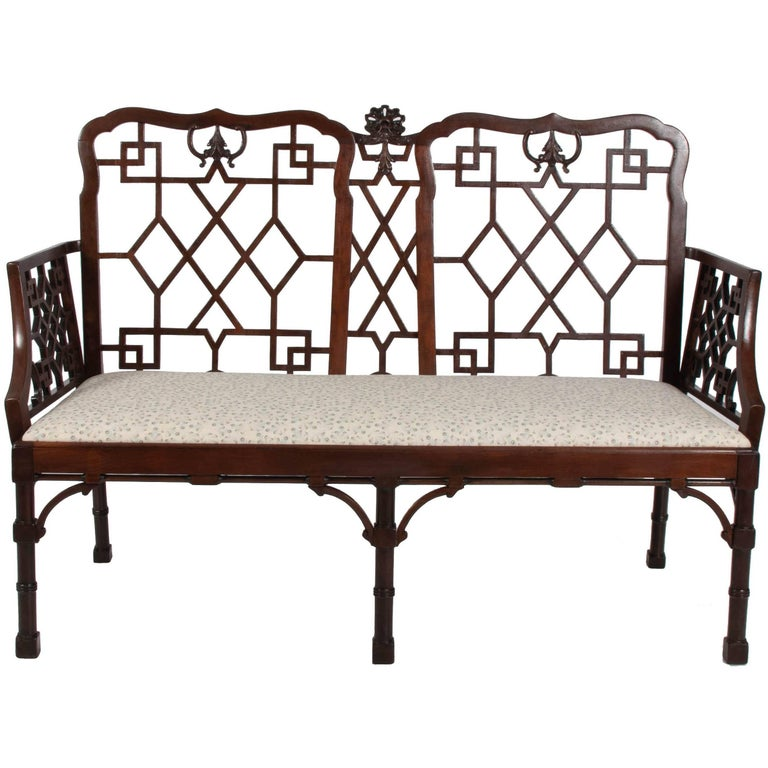 English Chinese Chippendale Mahogany Settee