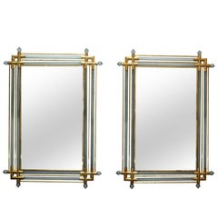 Venetian Brass and Spiral Murano Glass Wall Mirror, a Pair