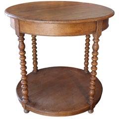 Vintage Round Wood End Table
