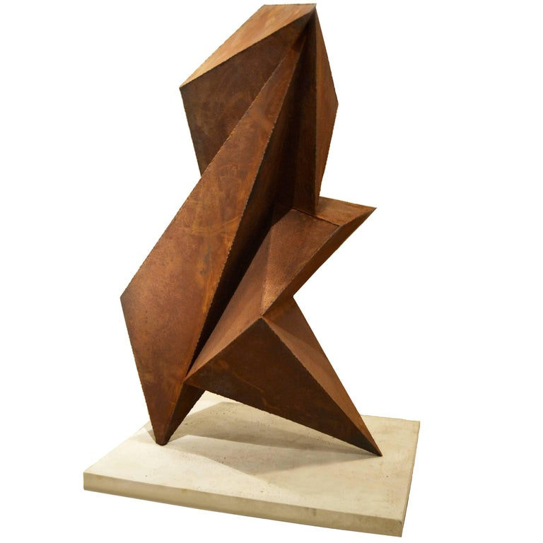 Abstract Steel Vertical Origami Sculpture by Artist Scott Donadio For Sale