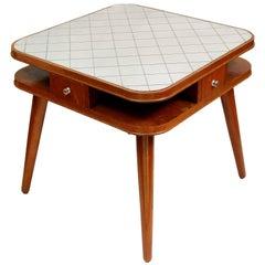 Card Table with a Mirror Top, Oak, Czech Art Deco, 1950s