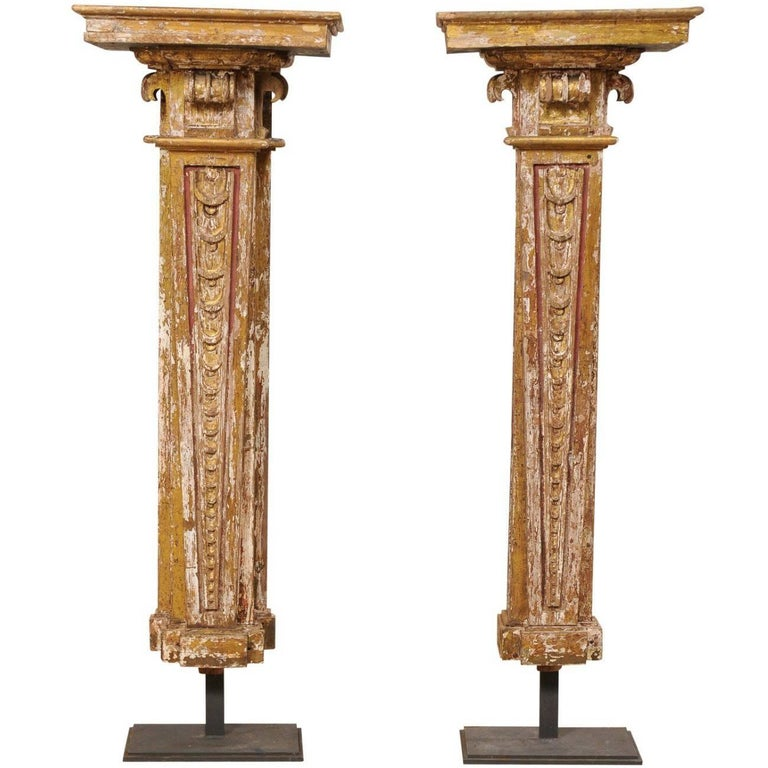 Pair of Early 18th Century Italian Columns Displayed on Custom Stands