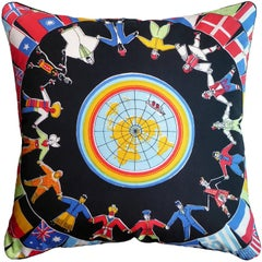 "Vintage 1970s ""World Peace Travel"" Hand-Printed Silk Cushion"