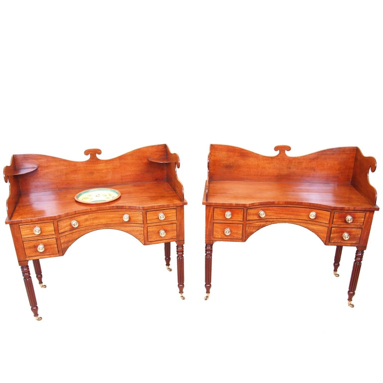 Antique Regency Mahogany Pair of Dressing Tables