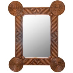 Vintage Rattan Mirror with Circular Corners
