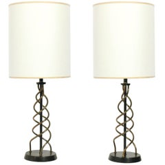 Pair of Sculptural Brass Spiral Lamps