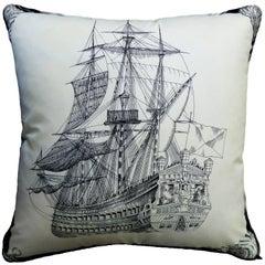 "1960s & 1980s ""the Royal Ship"" British Bespoke-Made Luxury Vintage Silk Cushion"