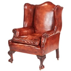 Antique Leather Wing Back Library Chair