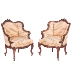 Fine Pair of Victorian Carved Rosewood Armchairs
