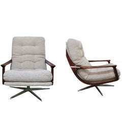 Pair of Vintage French Swivel Armchairs