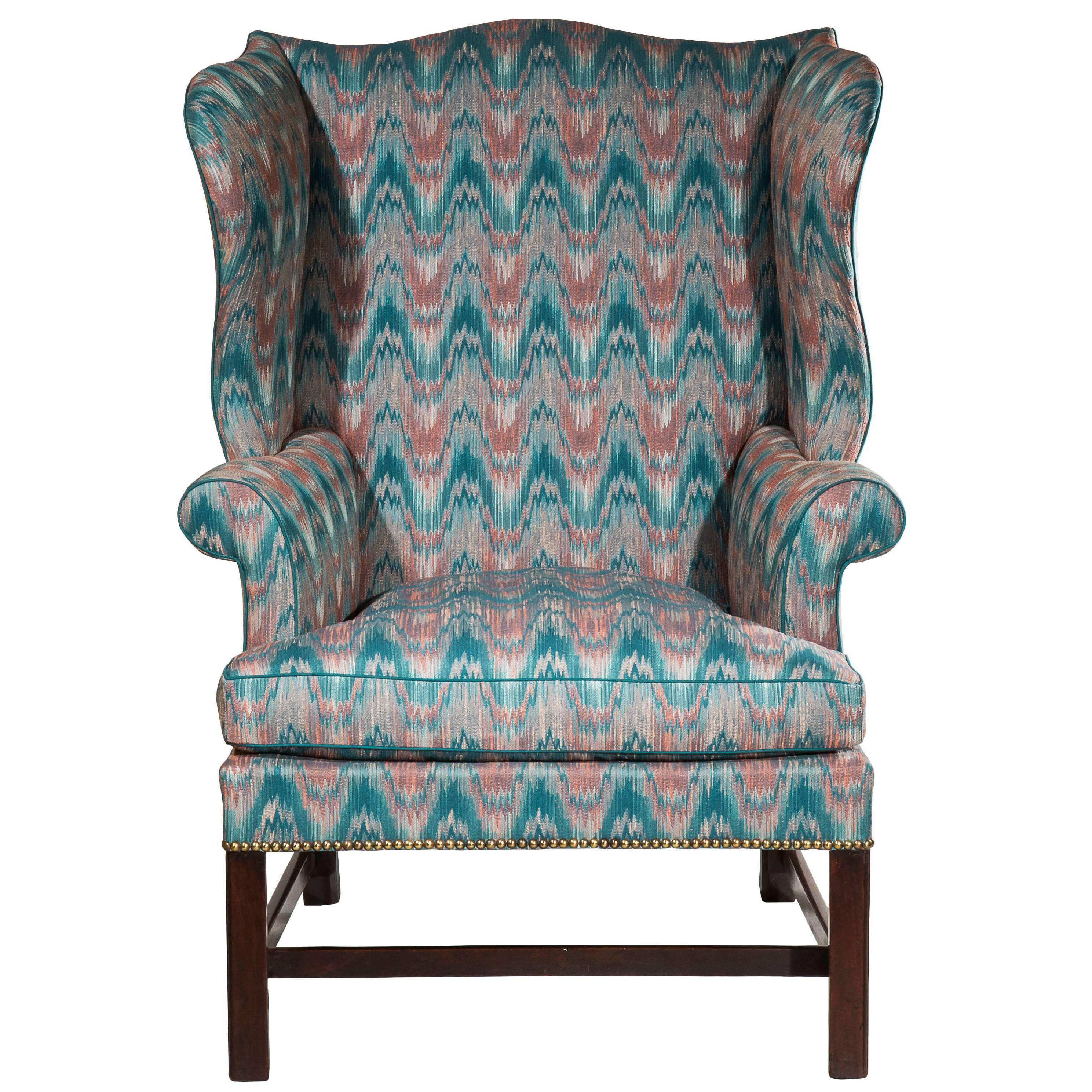 English 18th Century Chippendale Period Mahogany Wingback Armchair