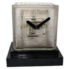 Rare Art Deco Bulle Glass Clock, Signed  P.M.Favre, 1930s