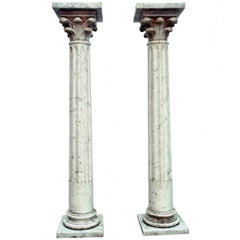 Pair of White Carrara Marble Columns, 19th Century, Italy