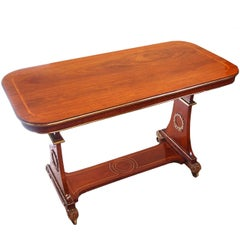 Antique Regency Rosewood and Brass Library Table