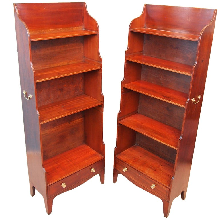 Antique Georgian Pair of Mahogany Waterfall Bookcases