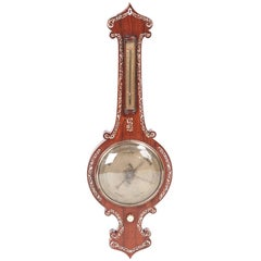 Antique Rosewood Inlaid Mother-of-Pearl Banjo Barometer