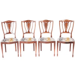 Set of Four Edwardian Mahogany and Rosewood Inlaid Dining Chairs