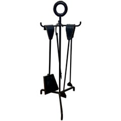 Jacques Adnet Leather and Iron Fireplace Set