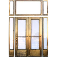 Brass Clad Courthouse Door Set with Sidelites