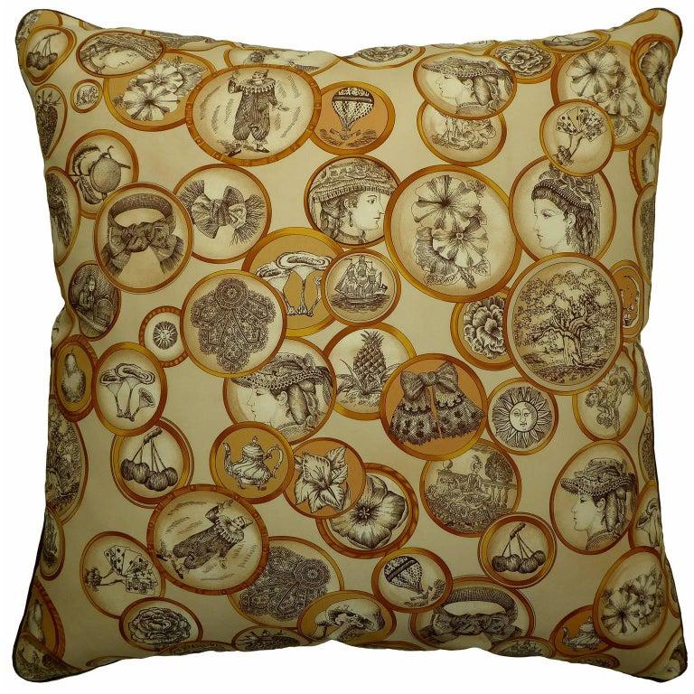 "Vintage Silk Cushion, ""Victorian Motif's"", circa 1900 and 1960"