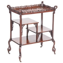 Unusual Meiji Period Oriental Hardwood Inlaid Table / Stand