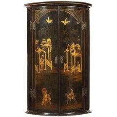 George I Black Japanned Hanging Bowfront Corner Cupboard