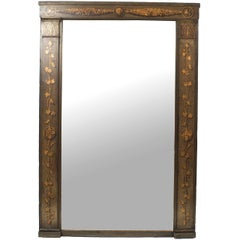 French Directoire '18th-19th Century' Dark Green Painted Trumeau Mirror