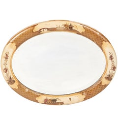 Small Antique Oval Chinoiserie Lacquered Decorated Wall Mirror