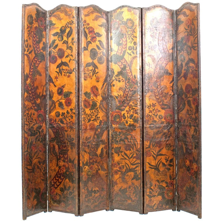 French Provincial Renaissance Style Leather Mounted Panel Screen