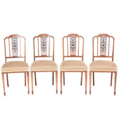 Outstanding Quality Set of Four Edwardian Inlaid Rosewood Dining Chairs