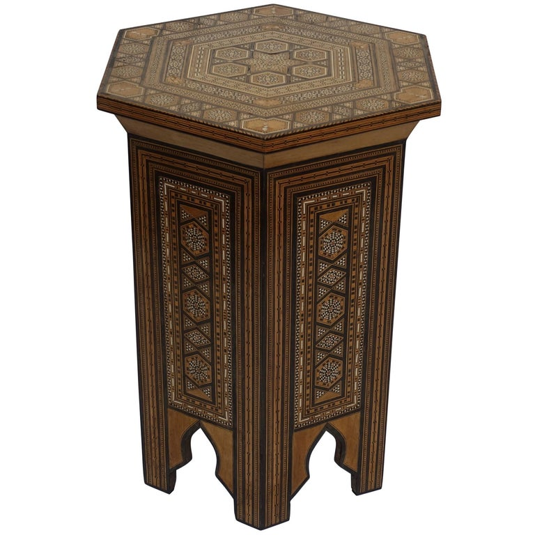 Syrian Tabouret Side Table with Multi Inlay