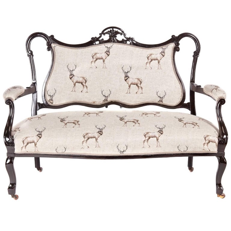 Victorian Carved Black Lacquered Settee