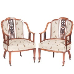 Outstanding Pair Of Edwardian Rosewood Inlaid Library Chairs