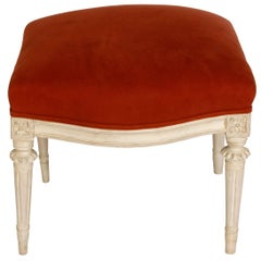 Pair of Louis XVI Style Painted Stools with Velvet Upholstery