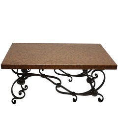 Polished Steel Coffee Table with Rouge Marble Top