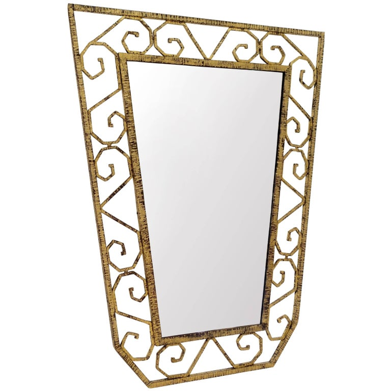 Gold Gilt Iron Mirror, France, 1930s