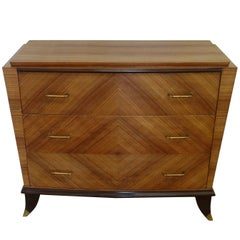 Mitered Walnut Commode, France, 1940s