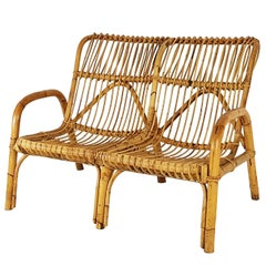 Italian Midcentury Rattan Two-Seater Bench or Sofa with Armrest