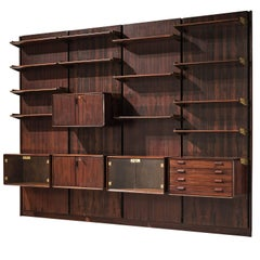 Italian Wall Unit in Rosewood and Brass, circa 1950