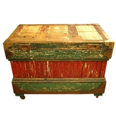 1800s Rare Crafted Tool Box Trunk with Original Paint with Many Compartments