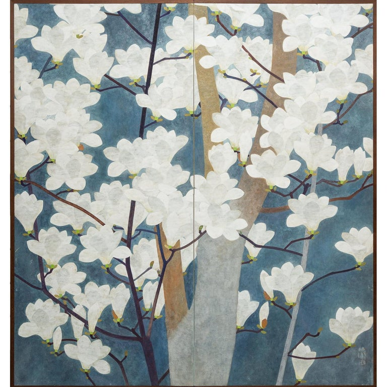 Japanese Two-Panel Screen, Magnolia in Bloom For Sale