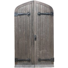 Pair of Reclaimed Arched Oak Exterior Doors