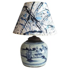 Early 19th Century Blue and White Canton Table Lamp