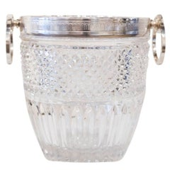 Large Silver Plated Glass Ice Bucket, circa 1890