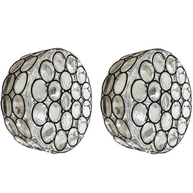 Pair of Iron and Glass Ceiling or Wall Lights Flush Mounts by Limburg, 1960s