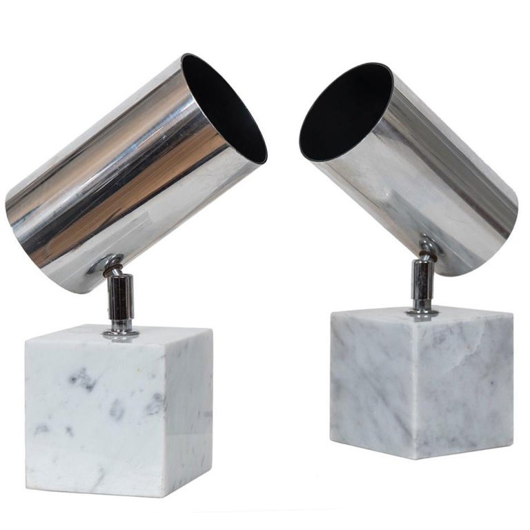 Pair of Vintage Chrome and Carrara Marble Lights, Attributed to Robert Sonneman For Sale