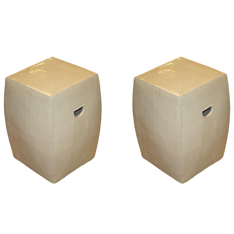 Pair of Porcelain Glazed Stools, China, Contemporary For Sale