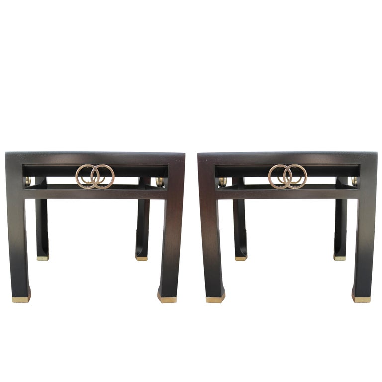 Elegant Pair of Side Tables by Michael Taylor for Baker