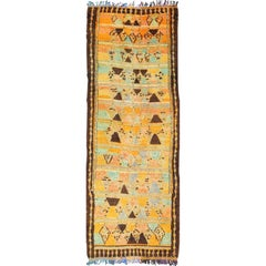 Long Vintage Moroccan Runner with Tribal Design in Orange, Brown, Blue and Green