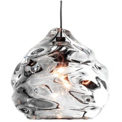 Glass Pendant Light, Clear Happy Pendant, Hand Blown Glass